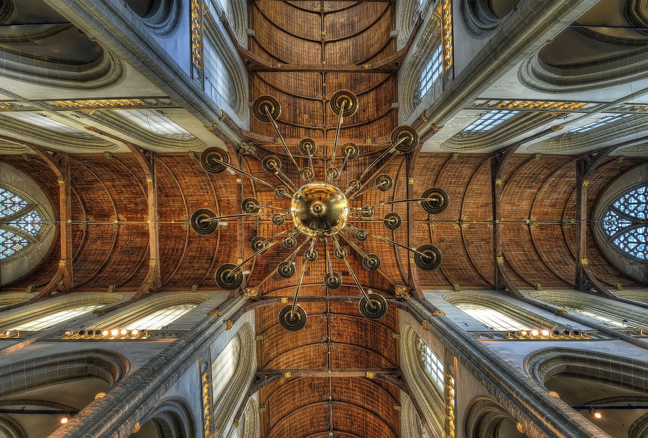 The ceiling of the big church in Dam Square Amsterdam.  I actually shot it blind with the camera ...