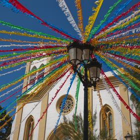 This photo was taken at Sant Climent, Menorca - Spain, during the town Parties. I wa suddelnly caugth by the happiness thiss colourful decoration...