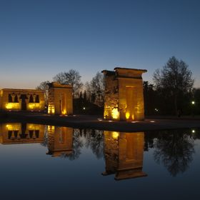 The Templo de Debod or Temple of Debod is an ancient Egyptian temple which was rebuilt in Madrid, Spain.   The temple was built originally 15 km ...