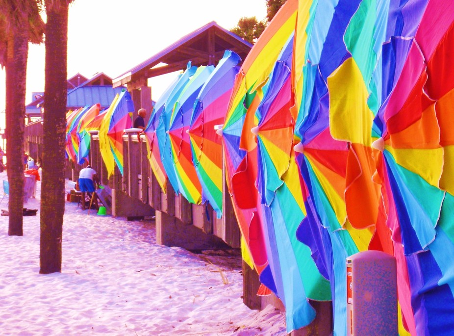 Clearwater pier Florida..the umbrellas are used to block the strong winds on the pier for tourist...