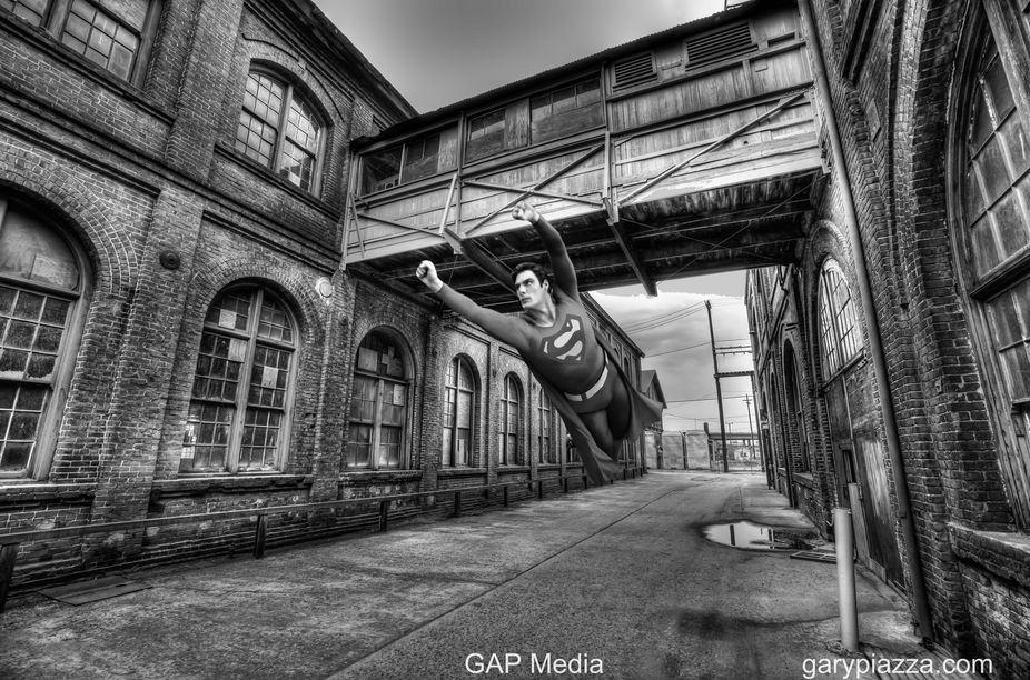 I shot this old train station in Sacramento and thought it could use a little Superman action...s...
