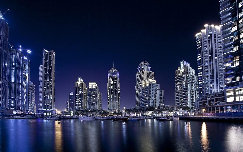 A long exposure shot of the Dubai Marina