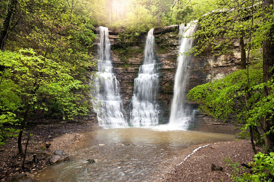 Triple Falls Waterfalls located in the Buffalo National River Wilderness Area in Arkansas. Actual...