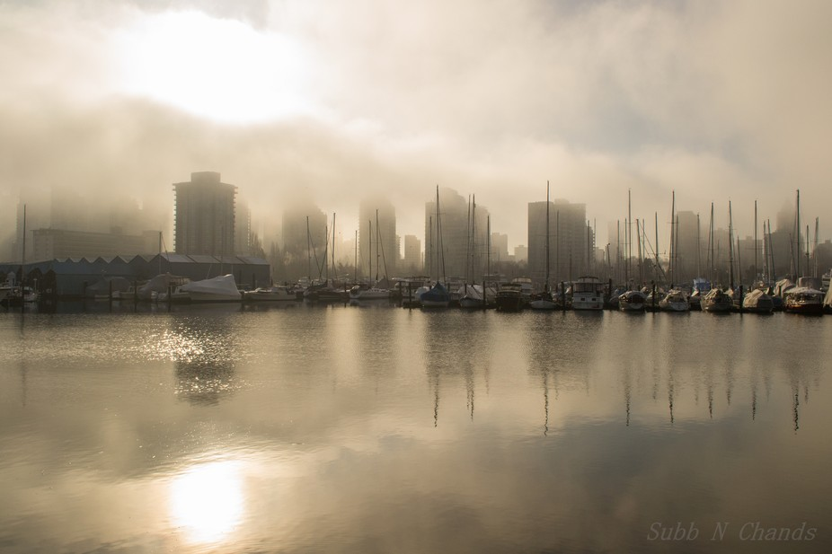 Early Foggy Morning - Downtown Vancouver Bay Area