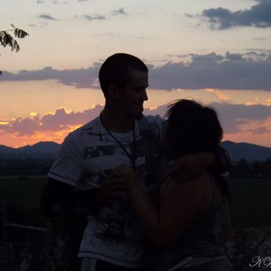 sunset and young love