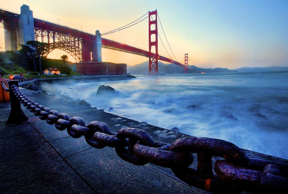 The sun sets behind the San Francisco landmark