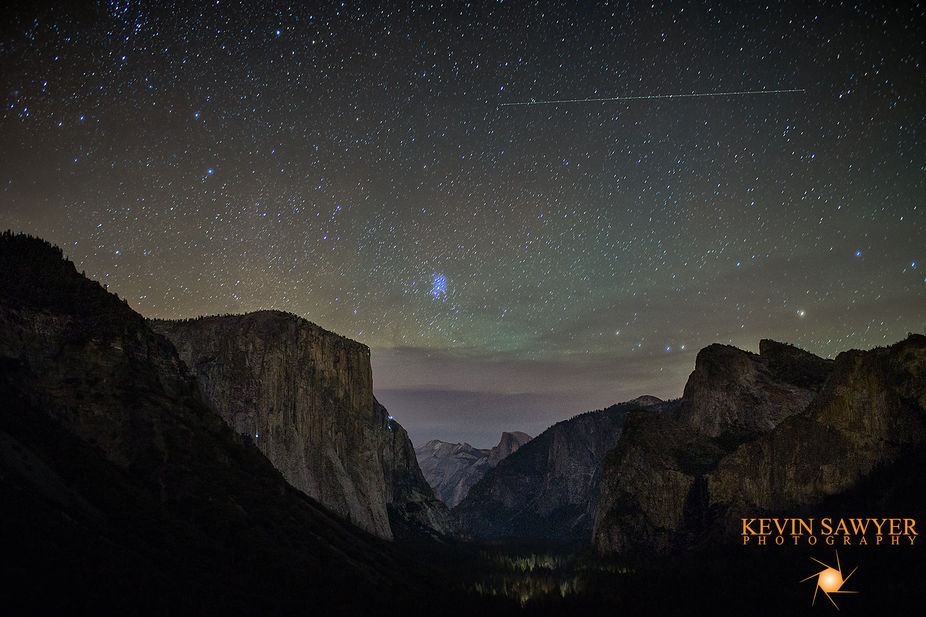 A HDR photo of Yosemite Valley with its magical night star lit sky, created at the darkest part o...