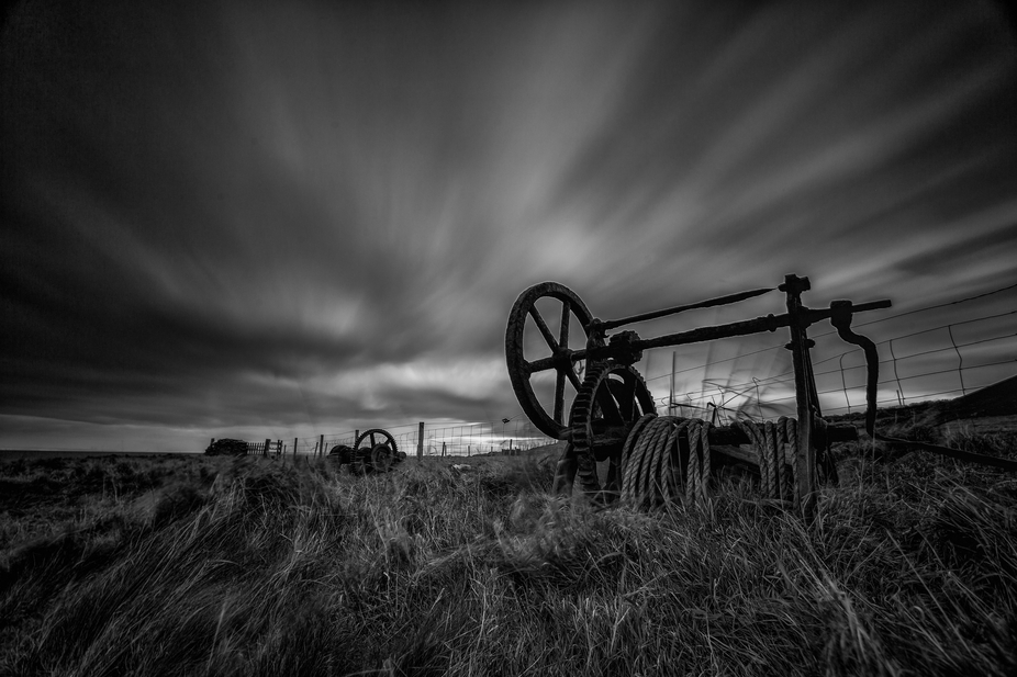 old winch used to haul boats up the beach in shetland