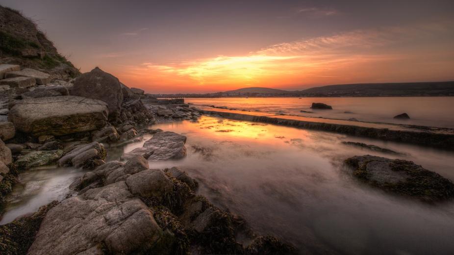 Sunset over Swanage Bay, Dorset, UK
