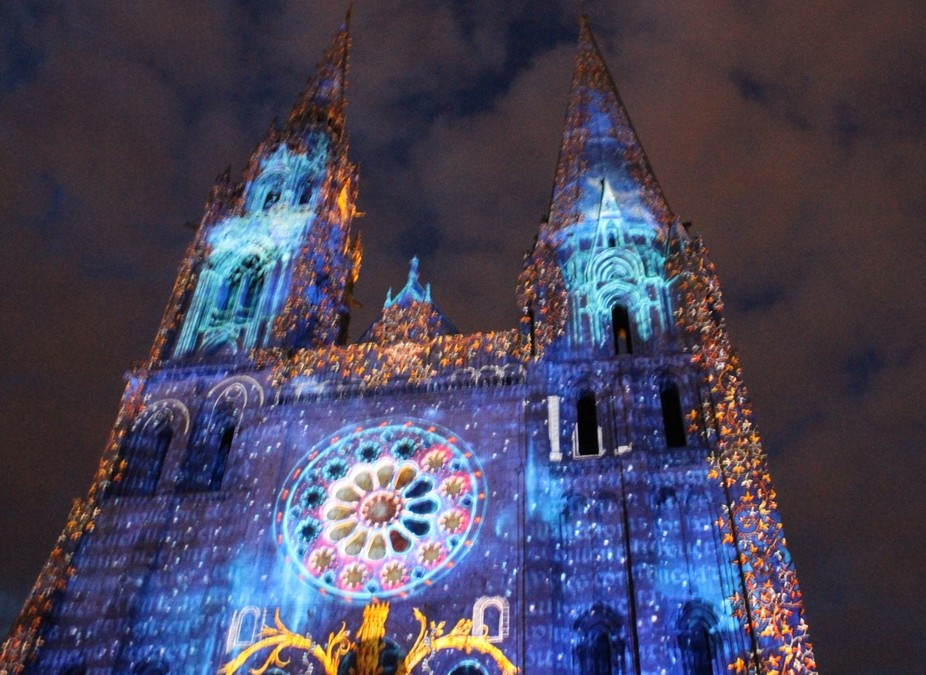 Son et Lumiere at Chartres Cathedral,France