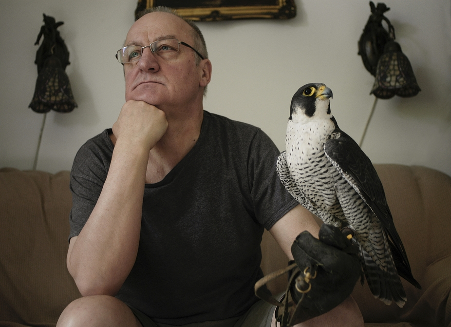 We\'ve always been like this. Its a moody sunday afternoon with my father and the falcon.