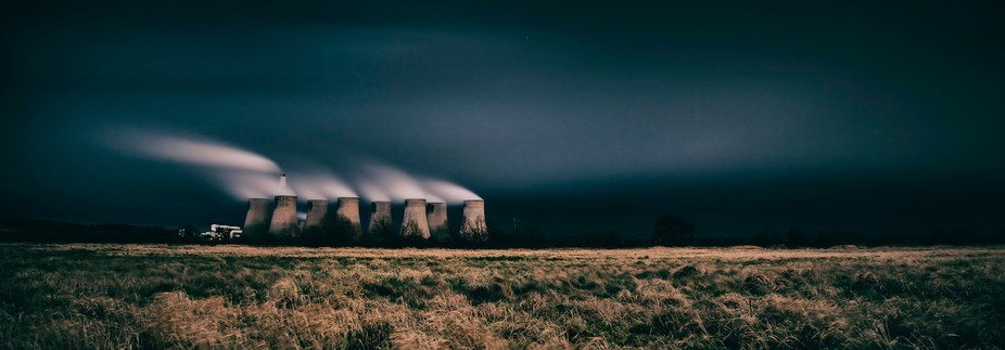 The Ratcliffe on Soar power station in the east midlands region of England shot under threatening...