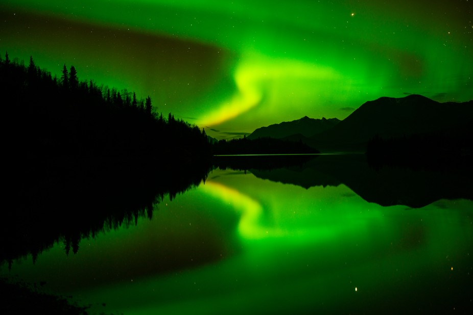 Northern Lights reflected in Lake Clark.