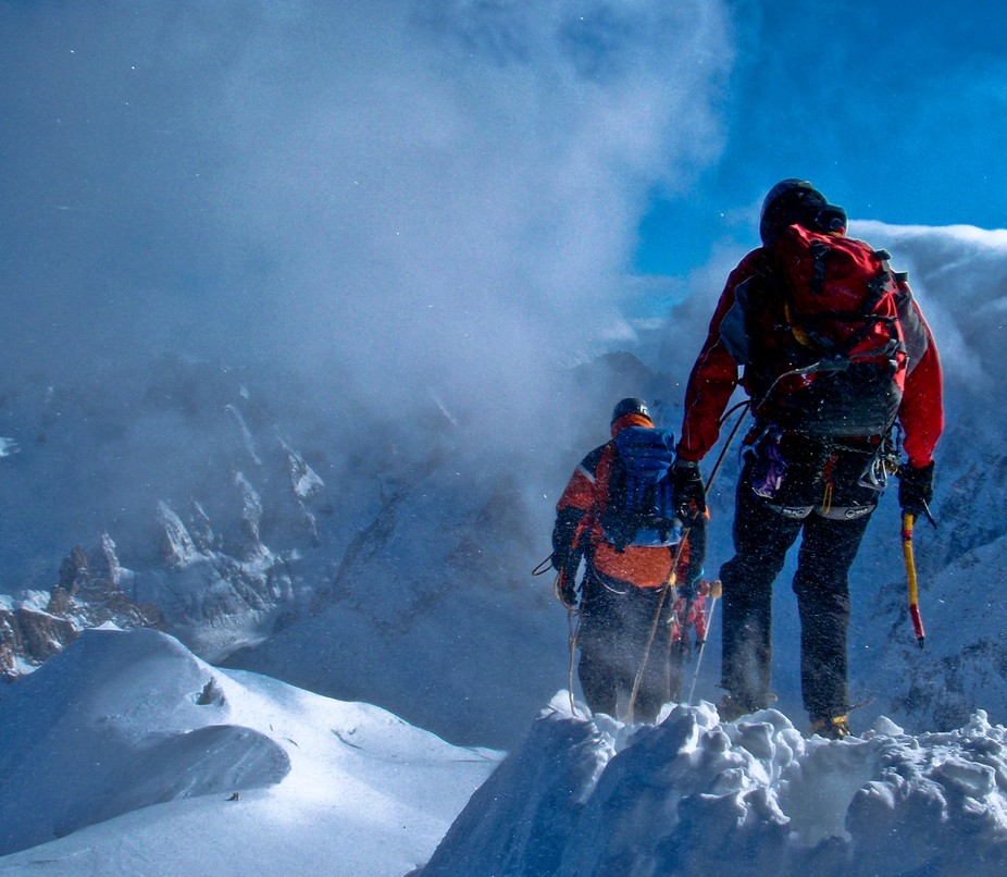 Climbers descending from the Auguille Midi Station, French Alps
