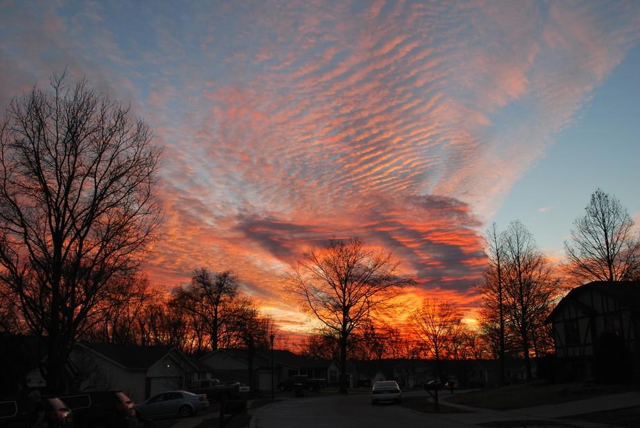 The sunset over a Saint Louis neighborhood.