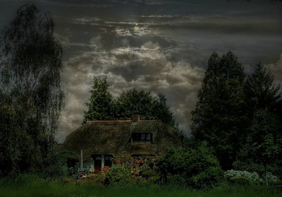 Cottage in moonlight