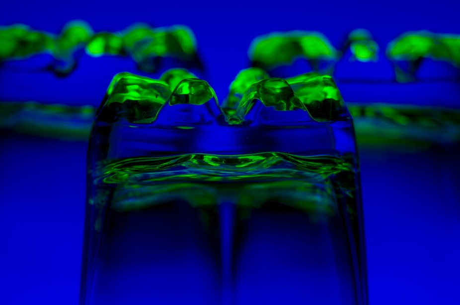 3 water glass upside down transperant with colored lights