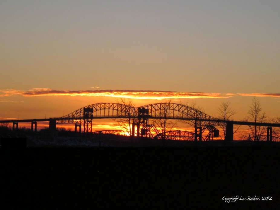 Sunset at the Sault Ste. Marie International Bridge from Canadian Sault side.