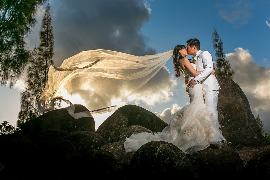 The beautiful clouds, amazing couple, and stunning dress and veil create this dynamic image