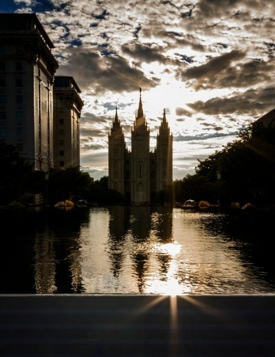 Temple Square Reflection & Flare