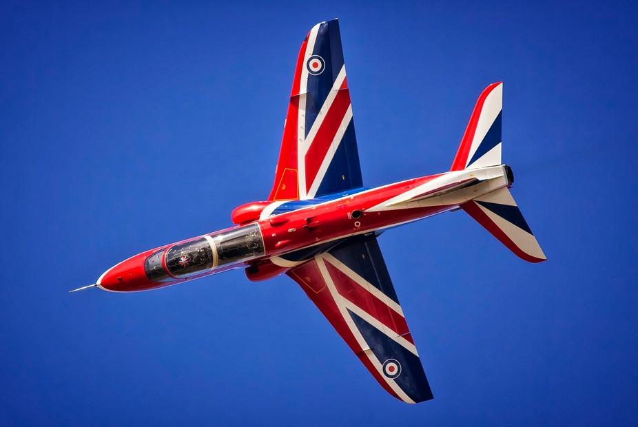 RAF Hawk rockets overhead during the RAF Leuchars airshow.