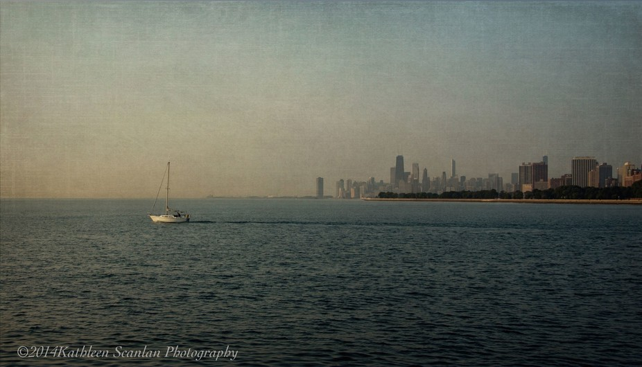 On the Chicago Lakefront looking south toward Downtown in the early morning hours of late summer.