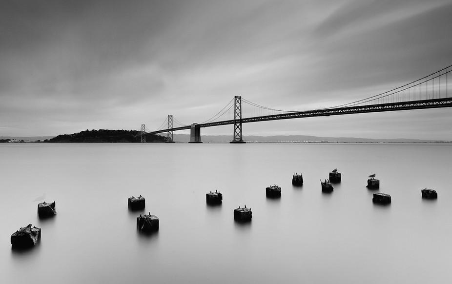 The famous Bay bridge in San Francisco city
