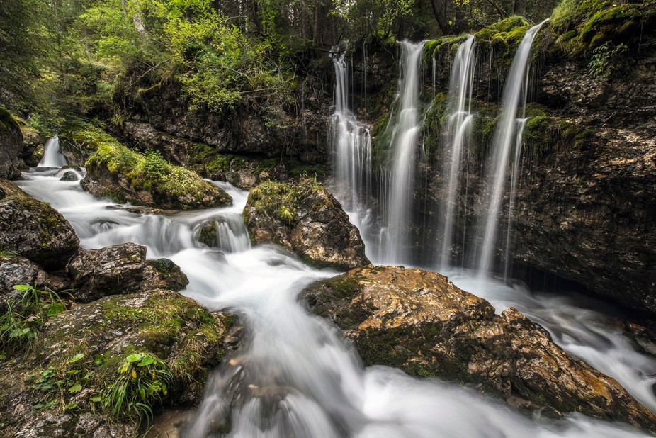 I stumbled across this fantastic little collection of falls after a period of heavy rain.