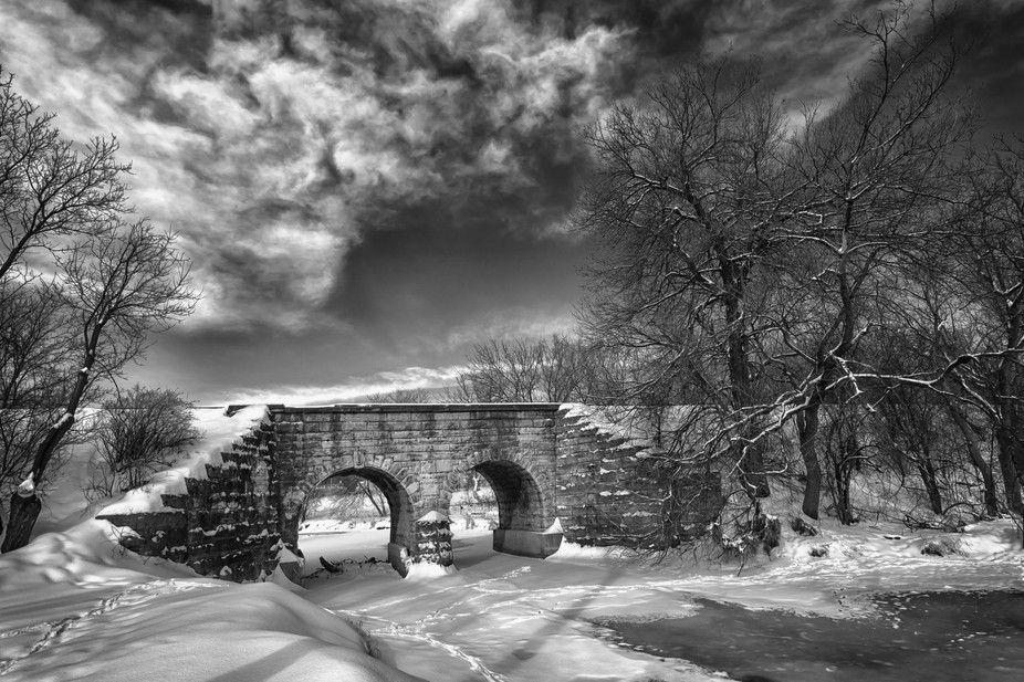 An old train bridge not to far from my house is the perfect winter background.
