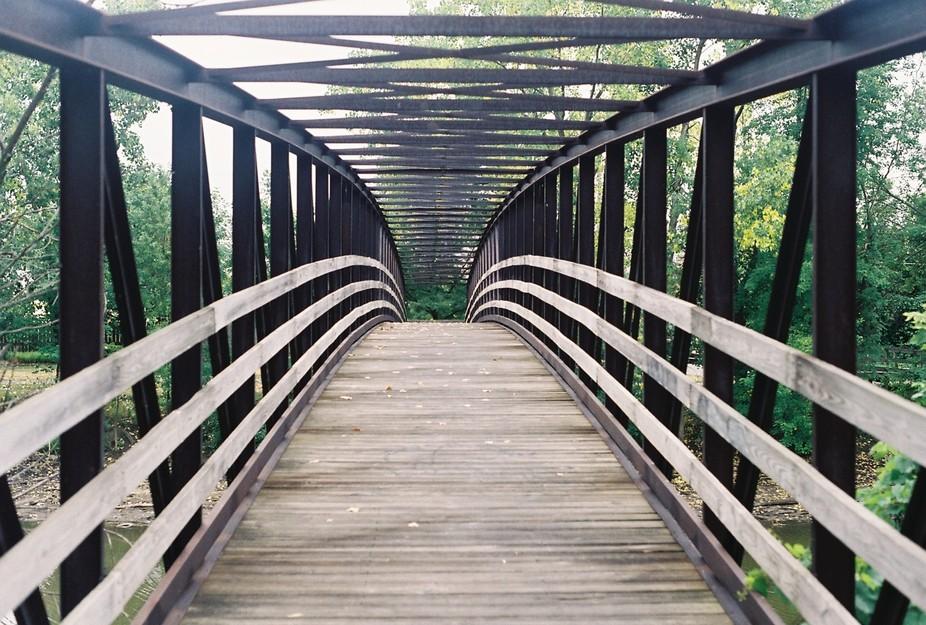 Pedestrian Bridge over the Blanchard River downtown Findlay, Ohio.