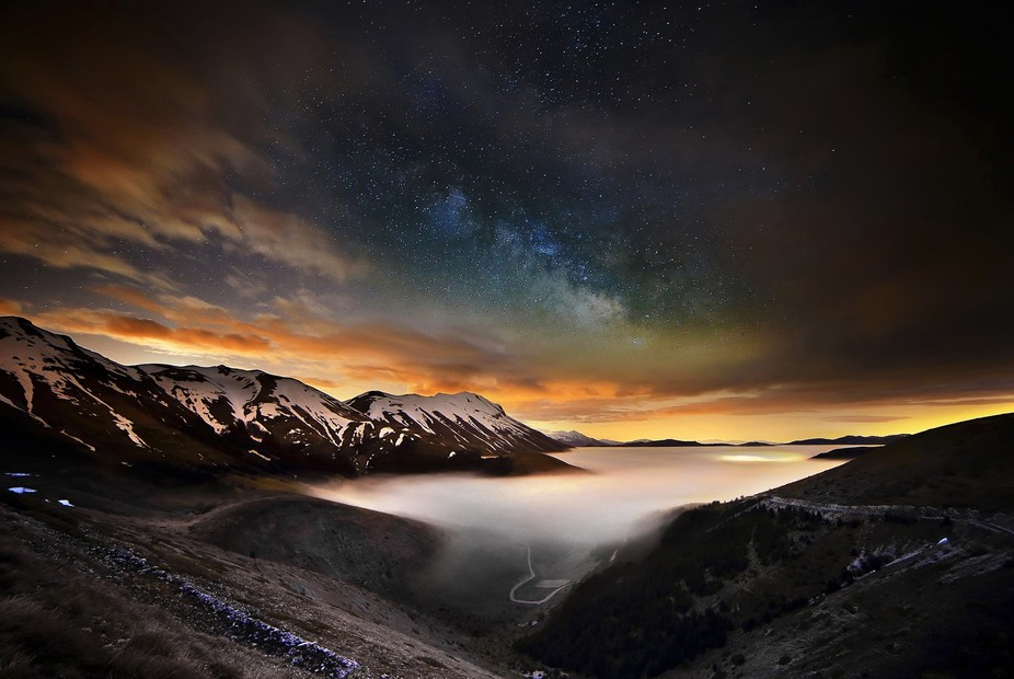 Sibillini Mountains National Park by night, Italy