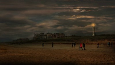Egmond aan Zee in moonlight.