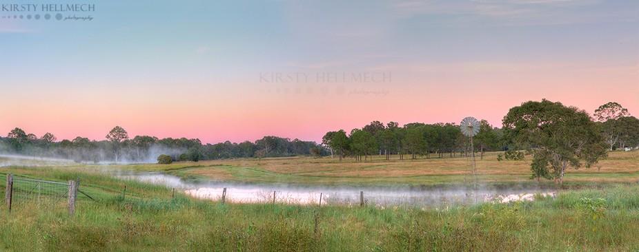 2 shot pano of a misty reverse sunrise. Shot in Logan Reserve, QLD, Australia.