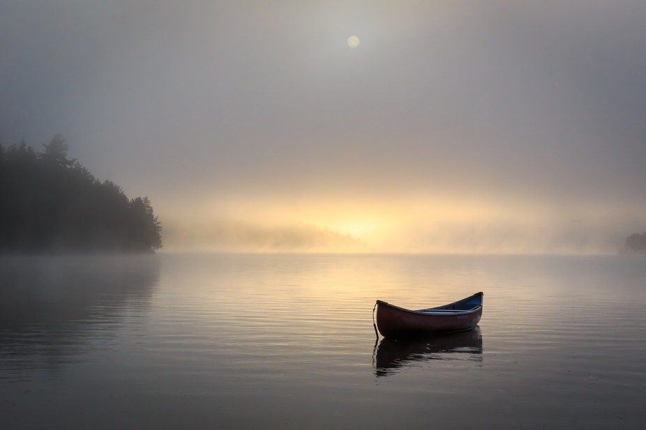The sun was trying to peek through the heavy clouds at the cottage, one morning, and I loved the ...