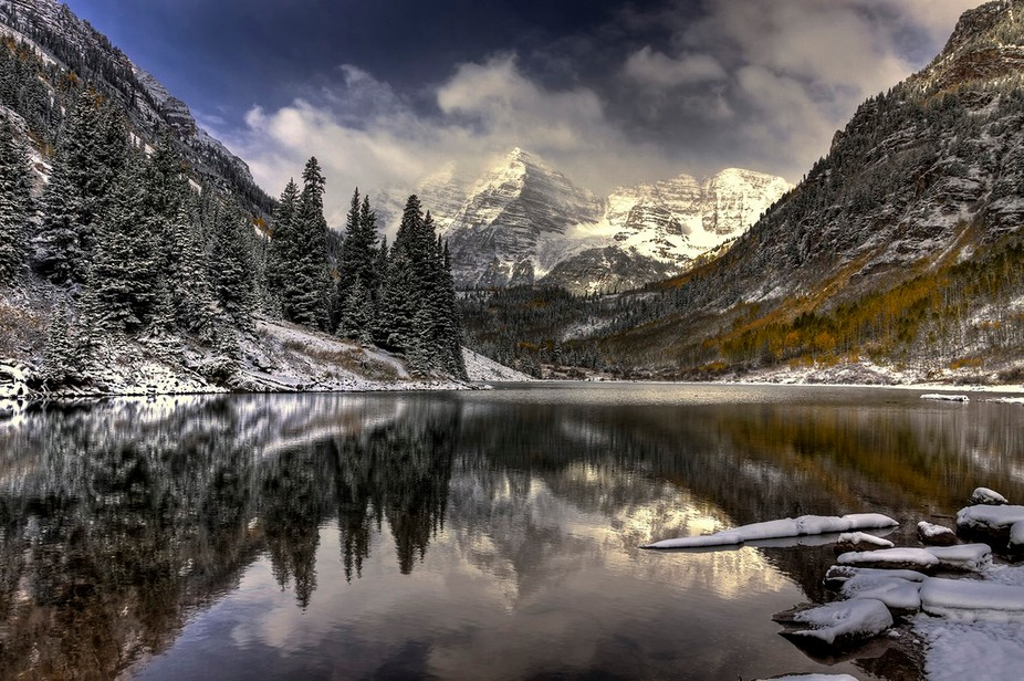 Maroon Bells, Aspen Colorado.  Went for fall color but got snowed on.