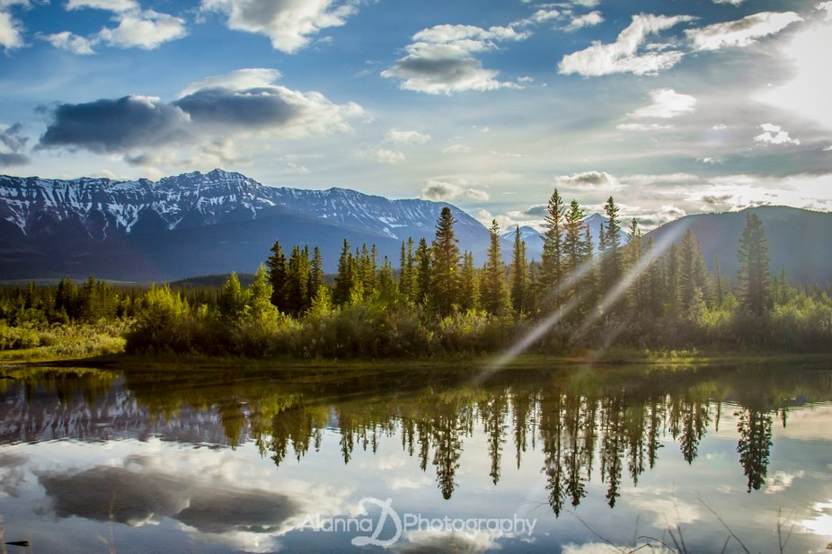 This reflecting pool of stunning landscape is from Jasper National Park in the rocky mountains of...
