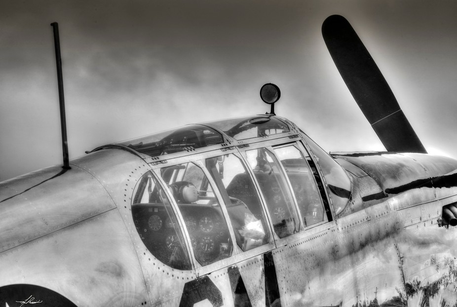 The bird cage canopy of the early model P-51B Mustang.  This aircraft was sitting on the ramp in ...