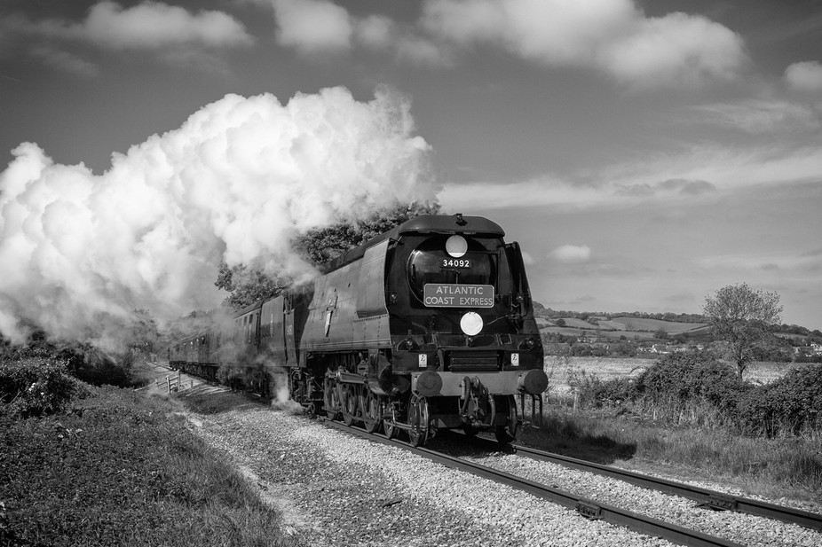 No.34092 Wells heads down the Gloucstershire Warwickshire Railway with The Atlantic Coast Express