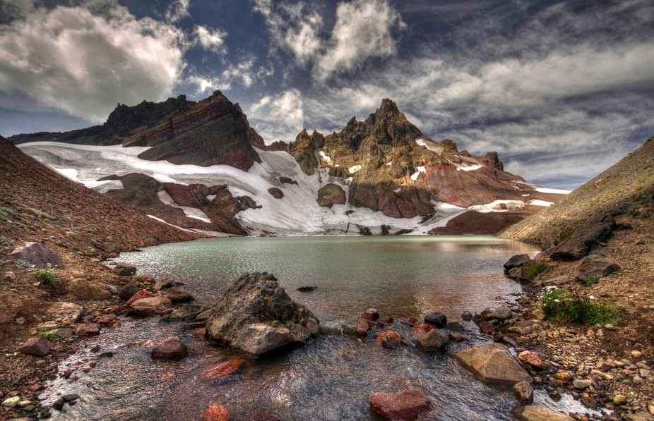 """A view from """"No-Name Lake"""" at the base of Broken Top, in the Oregon Cascades"""