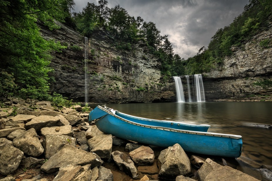 Ominous clouds building up over the Cane Creek Falls in the Fall Creek Falls State Park in Tennessee