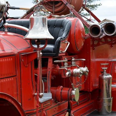 Old Fire Engine at a car show at Watson Lake in Prescott, AZ