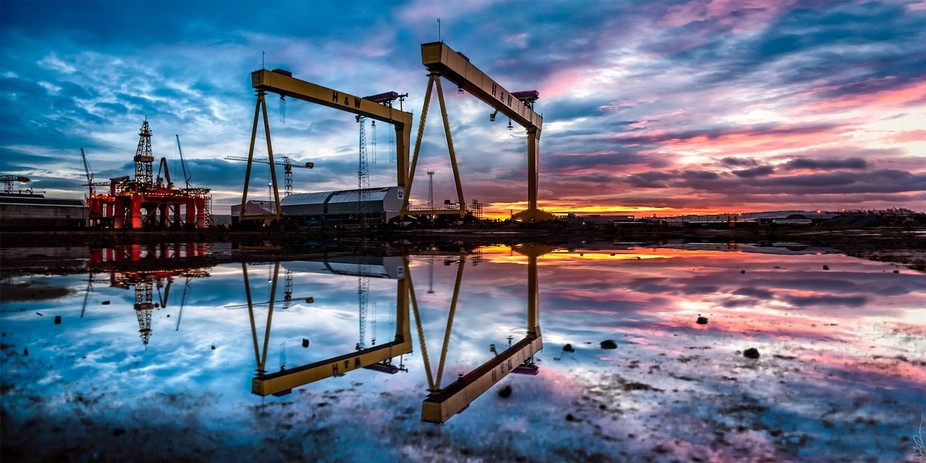 Harland & Wolff\'s legendary Samson and Goliath cranes at Belfast\'s shipyard during dawn.