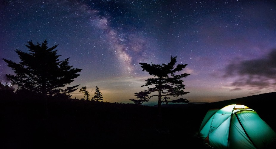 The Milk way shining Bright above our Campsite in Grayson Highlands State Park. Virginia