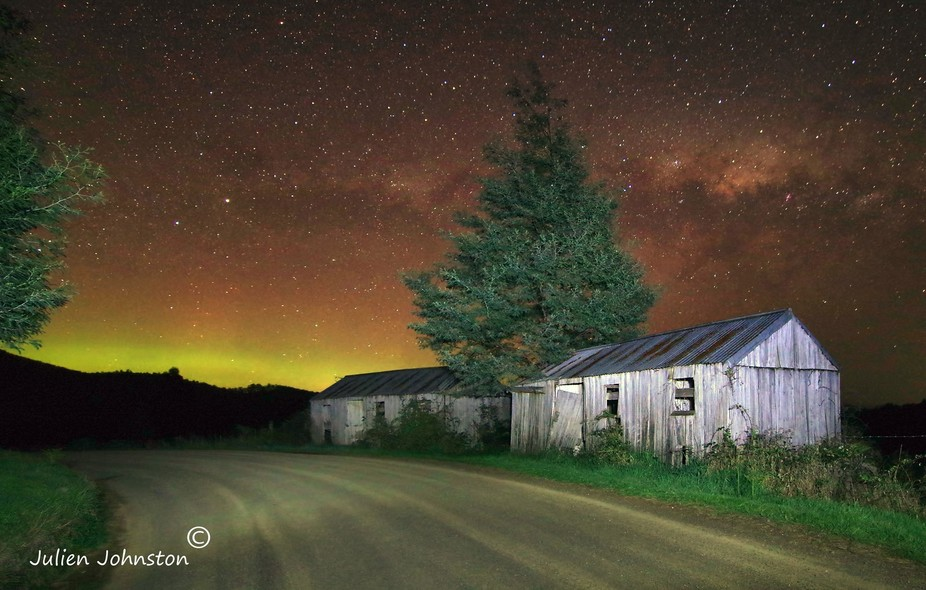 Aurora Australis and the Old Fruit Pickers Huts 2