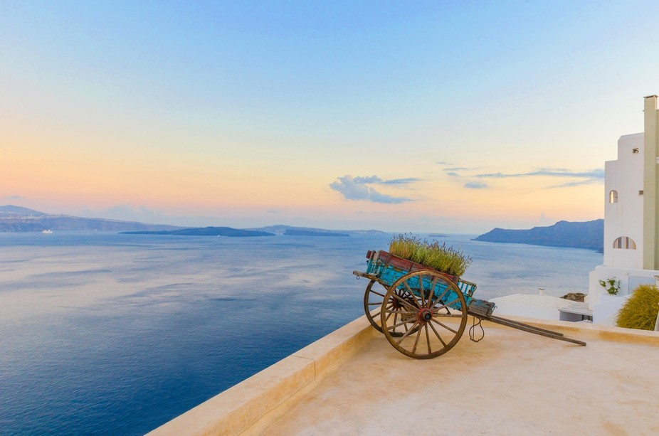 A great spot in Santorini to stop and take in the view.