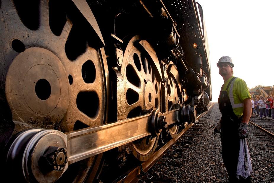 Union Pacific steam engine 844 preparing to leave Bloomington Texas.