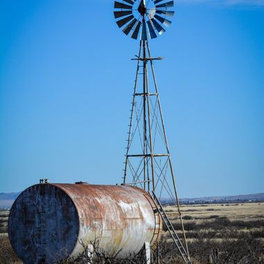 Lonely windmill along the side of the road, Willcox, AZ.