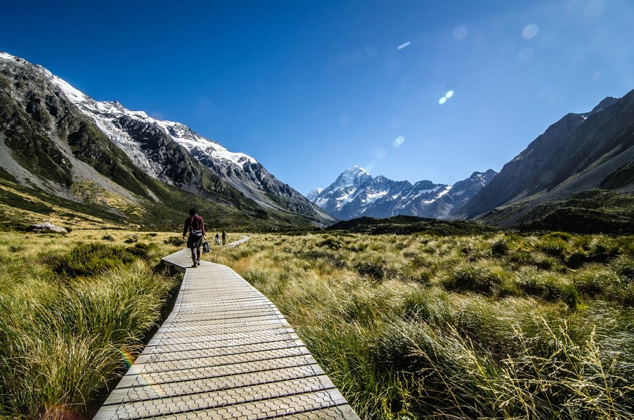 Hiking around the majestic Mount Cook.