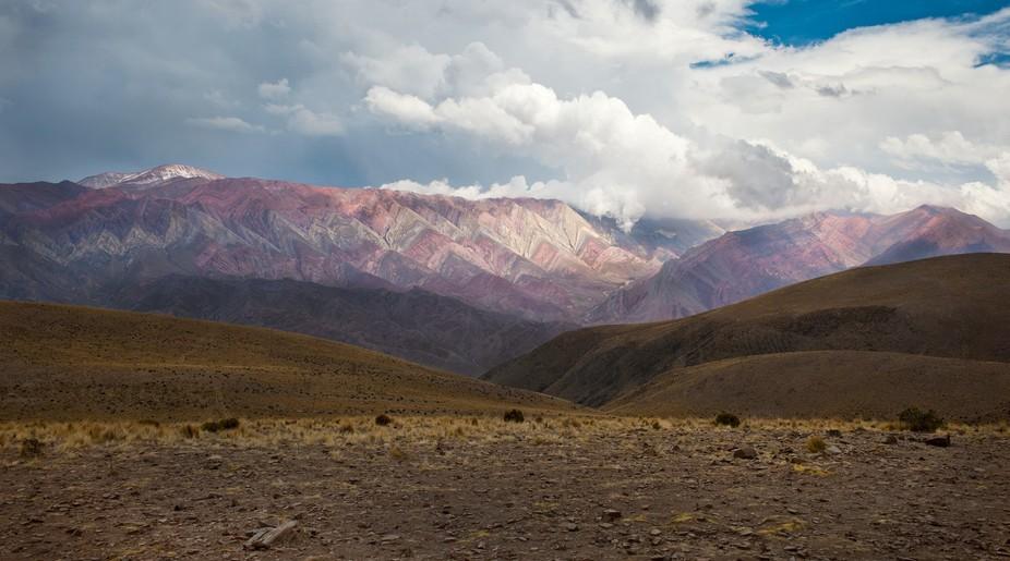 The seven-colored mountain Purmamarca. Argentina.