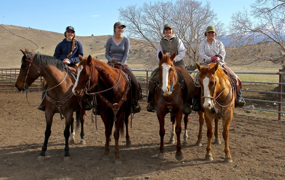 Four best buddy cowgirls at a family branding and their Quarter horses